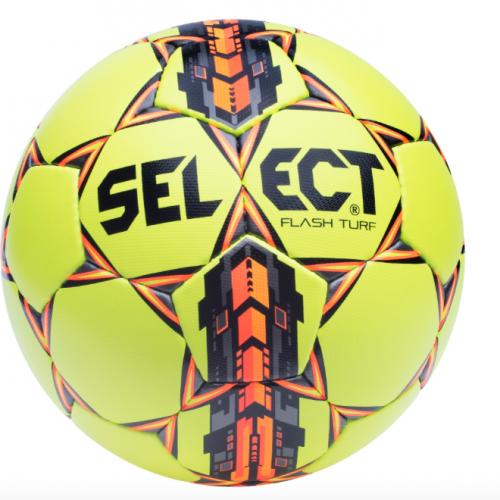 Select FLASH TURF fodbold str.4 - Select patenterede Zero-Wing blære i natur latex sørger for en konstant og stabil bold balance. Samtidig er balancepunktet i blæren flyttet til modsatte ende af ventilen. Fodbolden har et livligt opspring men samtidig nem at kontrollere på fodboldbanen også under våde forhold. Håndsyet fodbold med 32 felter for et lige svæv i luften. Fodbolden kan bruges på kunstgræs, almindeligt græs og grus. Fantastisk bold nyhed fra Select.
