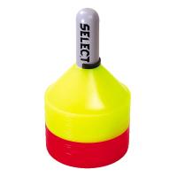 Markeringssættet indeholder 12 gule og 12 røde brikker i soft plast samt håndholder med lås. Vægt pr. brik 42 g.