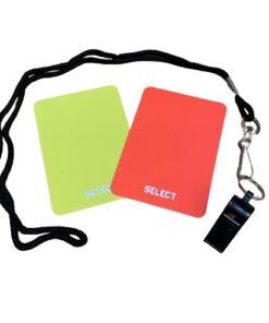 Skal fodboldkampen i haven blive lidt sjovere, så køb dette dommersæt med gult og rødt kort samt fløjte med snor.
